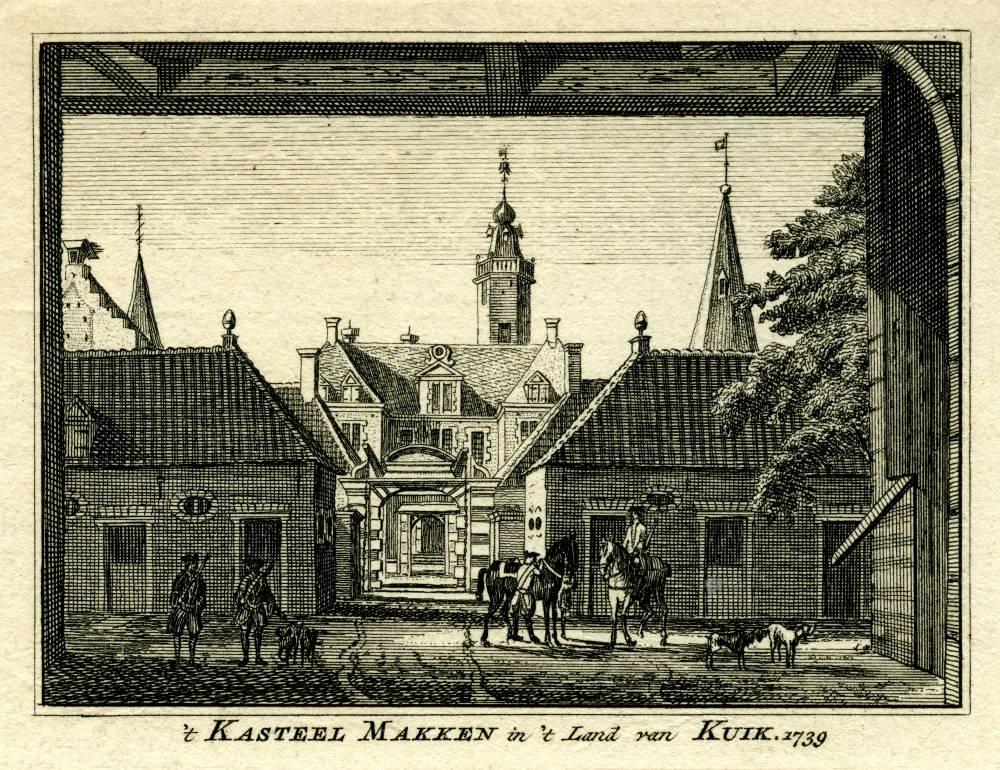 Kasteel Makken in Holthees. Tekening Jan de Beijer, gravure Hendrik Spilman (Uit: Het Verheerlykt Nederland, Isaac Tirion, 1745/1774)